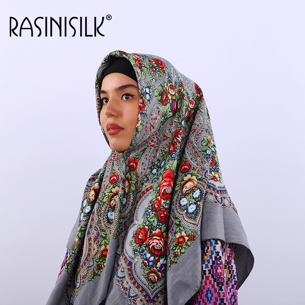 Quality Women Scarves Russian Large Square Headscarf European And American National Style Muslim Hijab Printing Winter 110x100cm