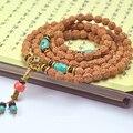 Tibetano KingKong Bodhi Beads Rosário 108 8mm Rodada Azul Turquesa Pulseiras Rudraksha Bodhi Sementes Oração Buda Mala Japa