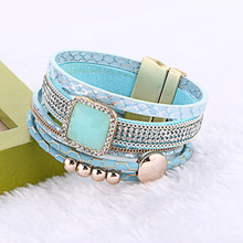 2016 New Fashion Rhinestone Multilayer Magnetic Leather Bracelets & Bangles with Wide Bohemian Handmade Bracelet For Women gift
