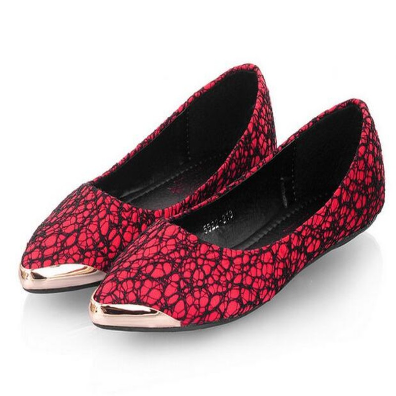 Euro Concise Elegant Ladies Party Metal Head Pointed Toe Flats  Shallow Slip On Lace Floral Shoes For Womens Solid Free Shipping 2017 summer new fashion sexy lace ladies flats shoes womens pointed toe shallow flats shoes black slip on casual loafers t033109