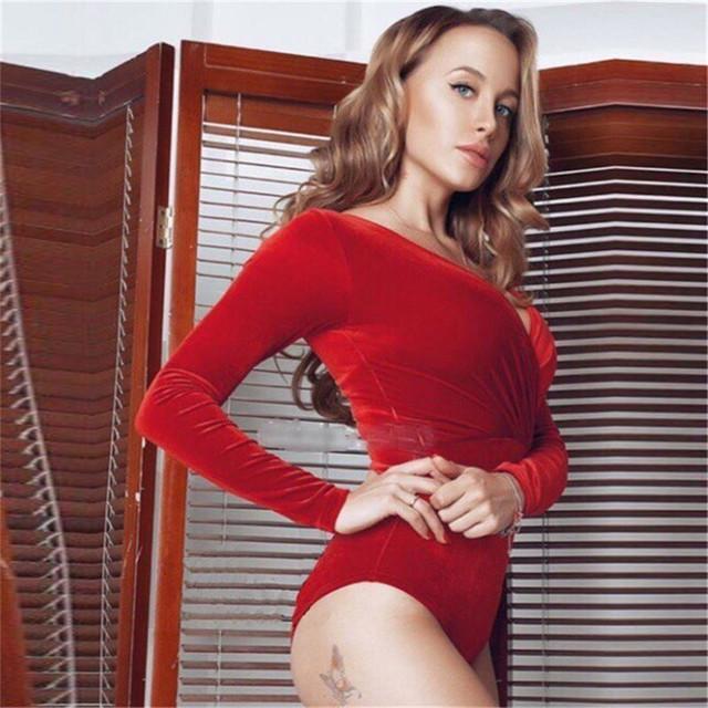 Rompers Jumpsuits Mulher 2016 Inverno Primavera Sólida Sexy Com Decote Em V Mulheres Magras Bodysuits Veludo Casuais Mulheres Macacão de Manga Longa Bonito