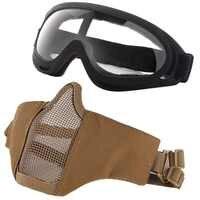 Airsoft mascarilla facial y espejo de viento ajustable medio Metal acero alambre de acero máscara facial Anti-UV gafas conjunto deporte camino táctico