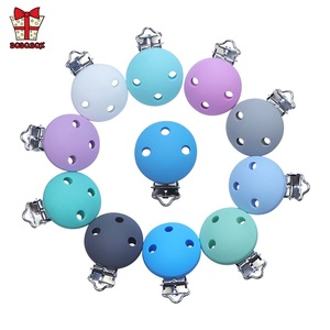 Image 3 - BOBO.BOX 10pcs Round Shaped Pacifier Clip Silicone Bead Baby Teether Soother Nursing Jewelry Toy Accessory Holder Teething Clips