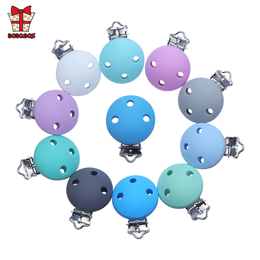 BOBO.BOX 1pcs Silicone Pacifier Chain Clip Holder Round Shaped Silicone Baby Teether DIY Cute Infant Clip Attachments Clip Beads