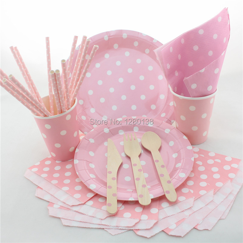 Disposable Kids Birthday Theme Tableware Polka Dot Design Paper Plates Cups Straws Napkins Bags
