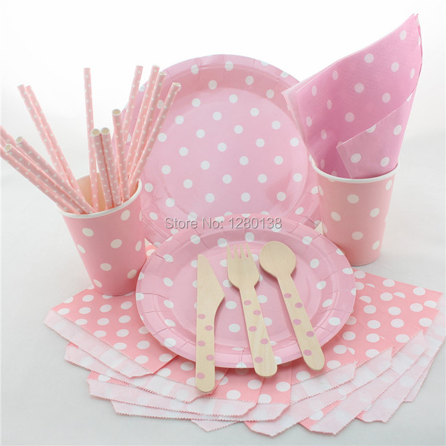 Disposable Kids Birthday Theme Tableware-Polka Dot Design Paper Plates Cups Straws Napkins Bags & Disposable Kids Birthday Theme Tableware Polka Dot Design Paper ...
