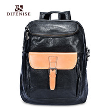 Difenise Genuine Leather Men Backpack The first layer cowhide Large capacity Preppy Style Vegetable tanned Backpack Luxury bag