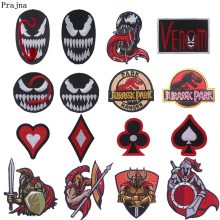 Prajna Venom Spartan Dice Iron On Patches Jurassic Park Patch Appliques For Clothing DIY Iron-on Stripe Jeans T-shirts