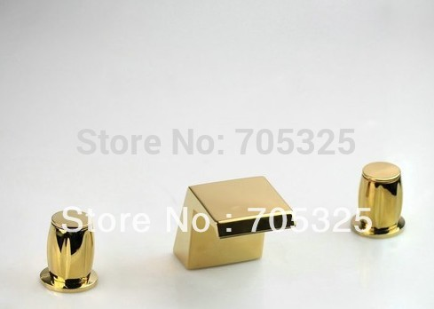 beautiful 3Pcs Gold Polish Deck Mounted Bathtub Basin Sink Mixer Tap Faucet Set Z130 european gold polish