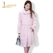LVCHI Women tunic fashion mink coats Genuine Leather Mink Fur Mink fur coat from natural fur polo collar Preppy style pink coat
