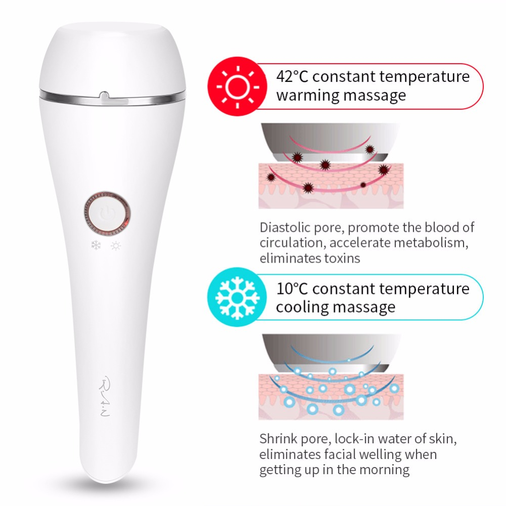 Electric Hot & Cold Vibration Photon Lamp Face Massager Anti-Aging Lifting Device ion Detox Pore Cleaner Light Therapy Machine цены онлайн