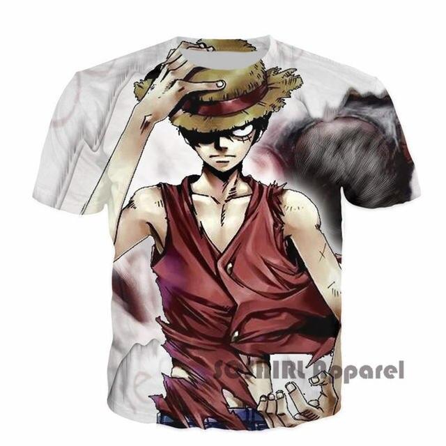 SOSHIRL One Piece Keren Luffy 3D Print T Shirt Anime Jepang Penggemar Merek Musim Panas Gaya