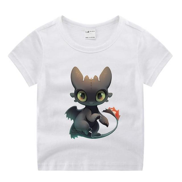 Children Cartoon Toothless The Night Fury Movie  Funny Cartoon Print T-shirt Kids Summer O-Neck Tops Boys & Girls Tshirt