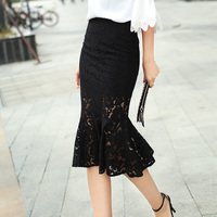 Black Lace Mermaid Split Skirt 2017 Spring Summer Fish Tail Trumpet Long Office Fashion Skirts 1994WY