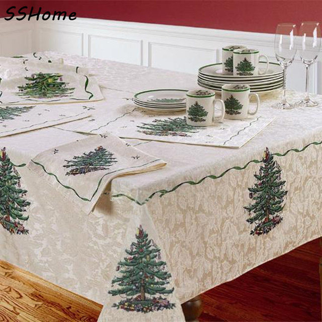 SPODE Christmas Tree Table Cloth Europe And United States Style Antependium  Tablecloth Napkin Flag Table Runner