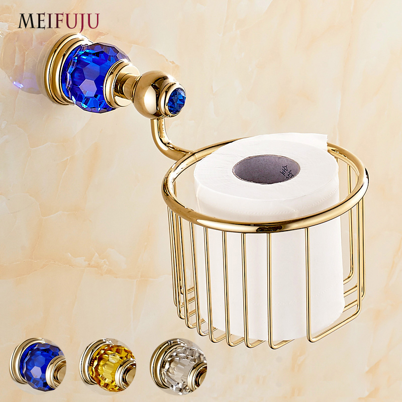 Golden Crystal Wall Mounted Bathroom Accessories Paper Towel Basket Copper European Paper Towel Basket Toilet Paper Tissue Box hole digging toilet paper basket pumping paper box space aluminum towel rack wall tissue box