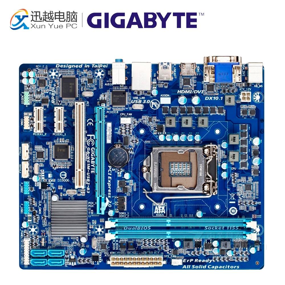 Gigabyte GA-H61M-USB3-B3 Desktop Motherboard H61M-USB3-B3 H61 LGA 1155 i3 i5 i7 DDR3 16G original used gigabyte ga h61m ds2 desktop motherboard h61 for intel lga 1155 i3 i5 i7 ddr3 16g uatx uefi h61m ds2 mainboard