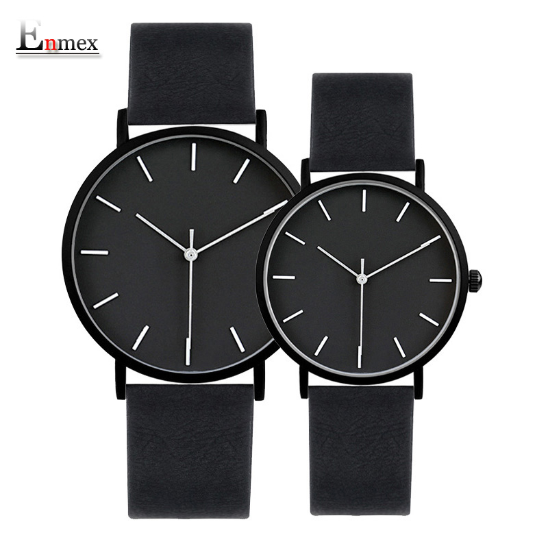 2017 Enmex cool style lover's wristwatch Brief vogue simple stylish Black and white face couple watch quartz clock fashion watch 2017 gift enmex creative simple design brief face with a red pointer leather band water prof young and fashion quartz watch