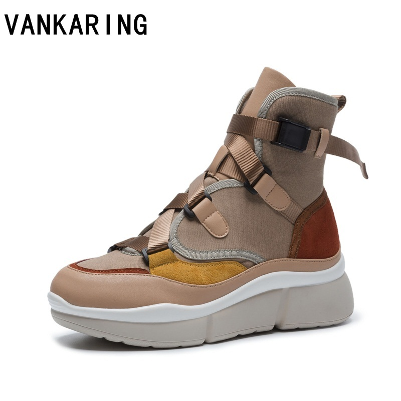 VANKARING 2018 women snow boots platform suede leather+canvas lace up flat ankle boots for women winter warm shoes bottine femme xiangxue warm and fuzzy black suede flat boots for winter 2018 chelsea boots for women