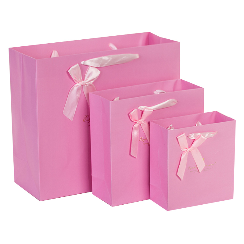 5pcs Pink Gift paper bag packaging shopping bag wedding birthday gift Flower Blue Ribbon bow 20*20*8cm 30*27*12cm party