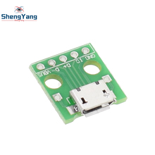 10pcs  ShengYang MICRO USB to DIP Adapter 5pin female connector B type pcb converter pinboard 2.54