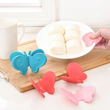 hot deal buy 2pcs butterfly shaped kitchen tools non-slip pot holder heat resistant microwave oven kitchen gadgets cooking tool easy to clean
