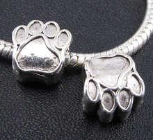 25pcs Tibetan Silver Paw prints Spacers Big Hole Beads Fit Charm Bracelet 11x10mm 2763