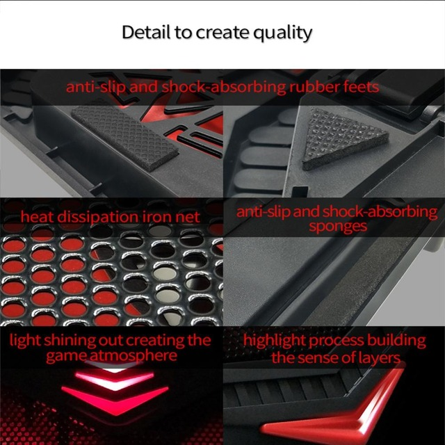 New Laptop Cooling Pad for 12-17 inch Laptop with 4 Silent Fans LED Lights Dual USB Ports r20 3