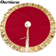 OurWarm 90cm Red Christmas Tree Skirt Golden Edge Gold Ruffle Bow Cover Base Decoration Xmas Tree Cover Decor New Year's Product(China)