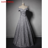 Silver Lace Mother Of The Bride Dresses Gowns A Line Off Shoulder Formal Godmother Groom Long