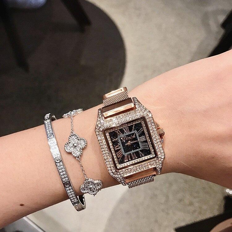 Vrouwen Horloge Lederen Band Vierkante Casual Horloges relogio feminino vrouw horloges reloj mujer zegarek damski montre femme Hot-in Dameshorloges van Horloges op  Groep 1