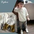 2017 Primavera kikikids Tees Crianças Menino O Pescoço T Shirt Impressão Conjunto Roupa de Crianças de algodão Menino 2 pçs/set Harlan calças Roupas de Criança t648