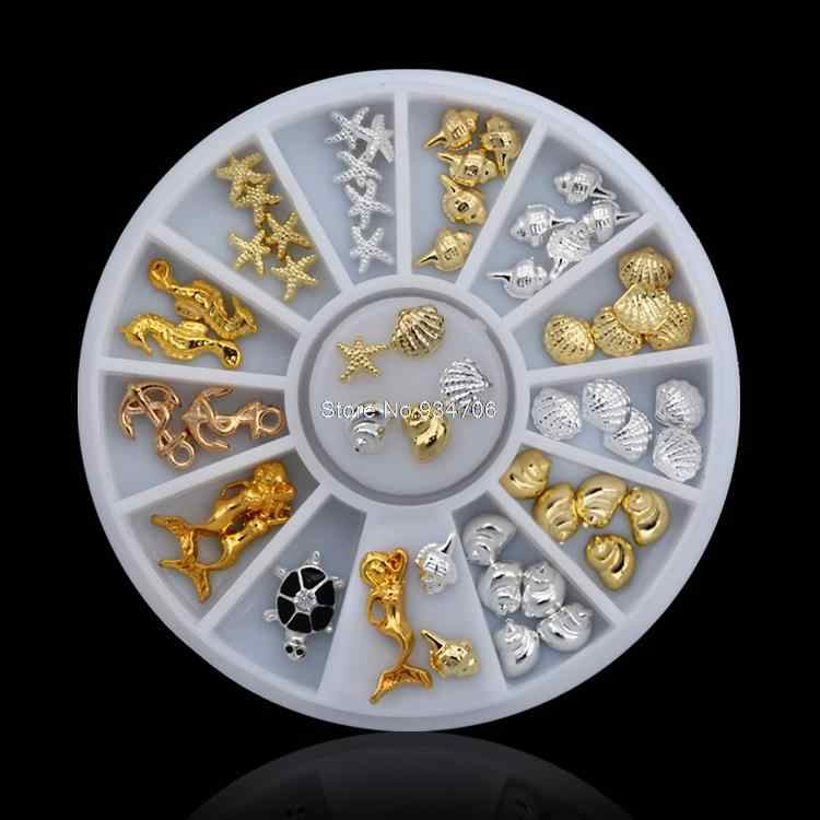 MANZILIN SP000-37 シェルヒトデ海ゴールドシルバー合金ネイルラインストーンデコレーションホイールチャームスタッドスパイクジュエリーマニキュアツール