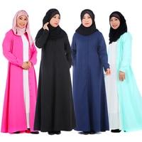 Summer Muslim Women Dress Abaya Robe Loose Button Closure Arab Long Clothing Saudi Dubai Cardigan Maxi