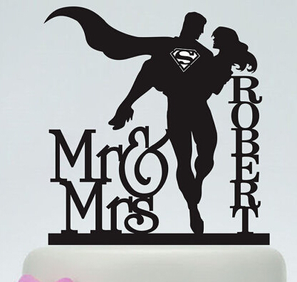 Cool Acrylic Wedding Cake Toppers Superman S Custom Bride Groom Name And Date Engagement Bridal Shower
