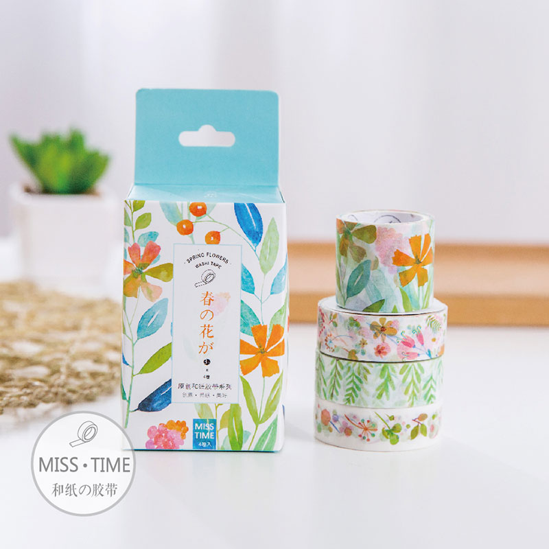 4 pcs/set MISS TIME Spring flowers washi tape children like DIY Diary decoration masking tape stationery scrapbooking tool riggs r miss peregrine s home for peculiar children