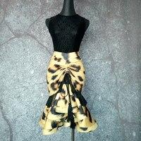 2018 Newest Latin Dance Skirt For Ladies Yellow Competitive Skirt Flamenco Women Ballroom Wears Samba Tango