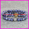 2PCS Blue lines stone beaded Lion hand Bracelet Silver / Gold Skull Elastic Men Women Buddha head Bracelets 2015 New bracelet