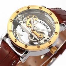 SHENHUA 9541 Кожаный Ремешок Мост Полые Автоматические Механические Мужские Наручные Часы Reloj Мужской Horloges