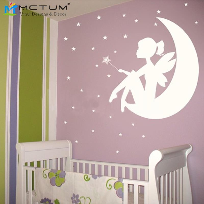 Fairy Little Girl On The Moon And Stars Vinyl Wall Decals Wall Sticker Wall  Art Girls Part 46