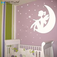 Fee Kleines Mädchen Auf Dem Mond Und Sterne Vinyl Wandtattoos Wandaufkleber Kunst Mädchen Kinderzimmer Dekor Größe 55x64 cm