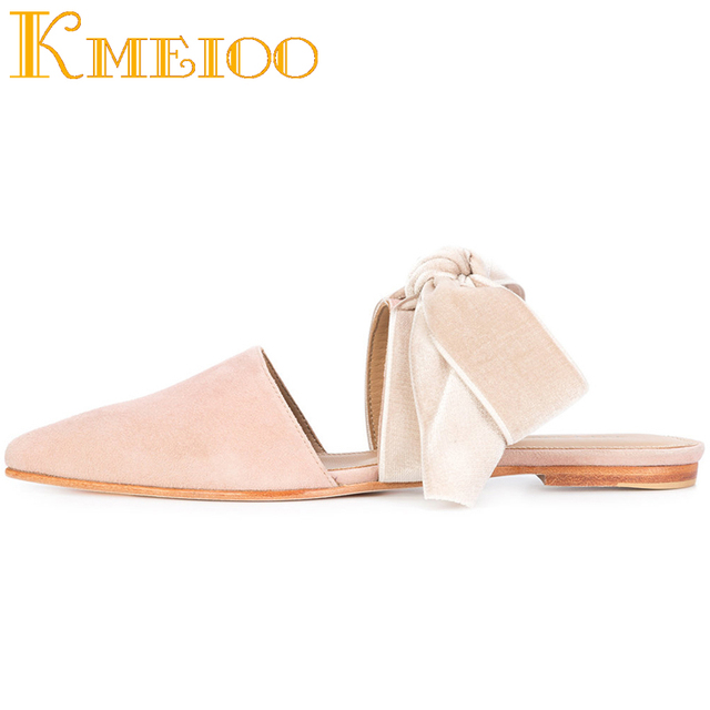Kmeioo Sweet Ladies Shoes Bow Tie Mules Butterfly-knot Flat Sandals Slip On Woman Shoes Riband Ring Dress Shoes