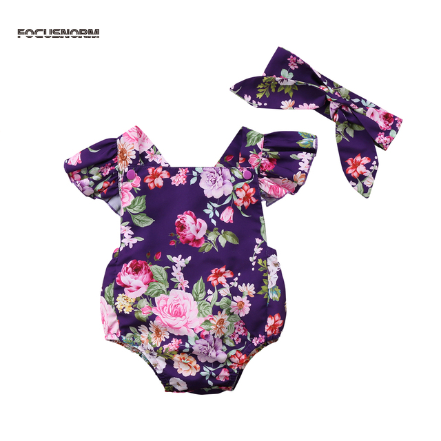 b7b0a8469 New Pretty Baby Girl Infant Floral Bodysuit Rose print Summer cotton ...