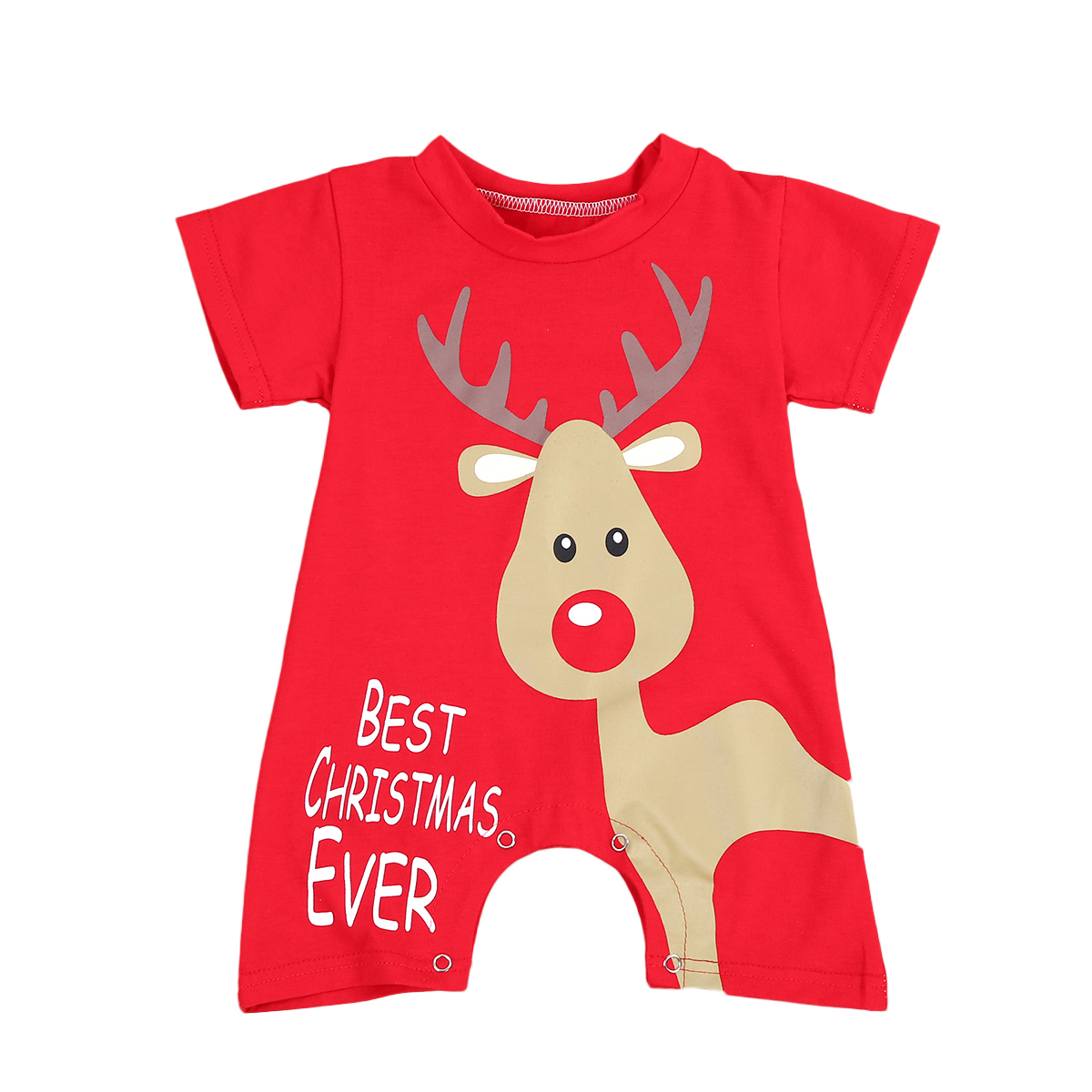 Christmas baby boys girls clothes cartoon deer newborn baby romper jumpsuit short sleeves baby new year costume red for boy girl