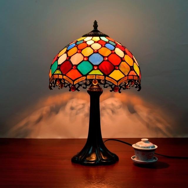 Paralumi In Vetro Per Lampade Da Tavolo.Paralume In Vetro Colorato Tiffany Lampada Da Tavolo In Stile