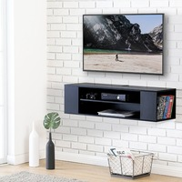 FITUEYES Wall Mounted Media Console Audio Video Black Wood Grain For Xbox One PS4 Vizio Sumsung