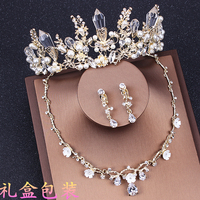 Korean Bride Wedding Accessories Rhinestone Hair Headdress Set Zircon Crown Necklace Jewelry Three Sets Sweet Crystal with Box