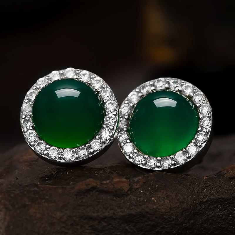 precious earrings oval copy stone green earring products access of semi boutique