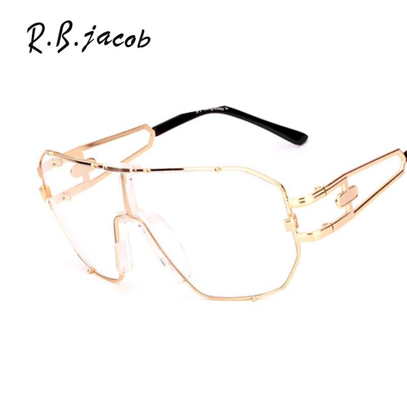 2017 Oversized Clear Brand Designer Men Women Metal Classic Eyeglasses Frames Transparent Lens Vintage Gradient Glasses Frame
