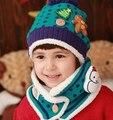 Новая Мода Зима Теплая Малыш Шапки Девочка Мальчик Ухо Толстый Вязать Шапочки Hat + шарф Милый снеговик Cap